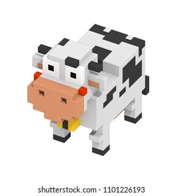 3d rendering voxel cube isometric cow animal