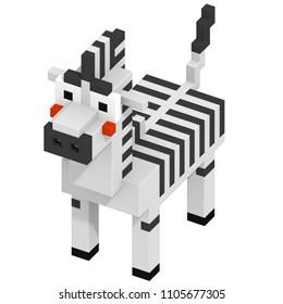 3d rendering voxel cube isometric zebra animal