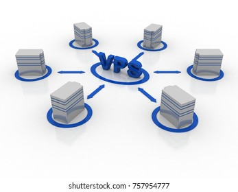3d rendering vps Database storage network concept