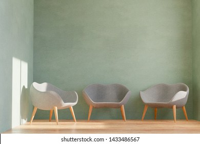 3D rendering of a waiting room with three comfortable chairs