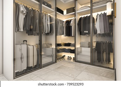 3d rendering walk in closet with golden decor