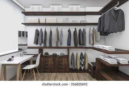 3D rendering walk-in closet with make up table