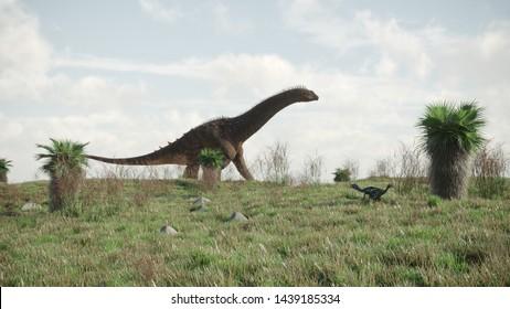 3d rendering of the walking alamosaurus in Jurassic age