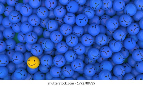 3D rendering of wallpaper. Views of pile of smiling yellow, gray and blue plastic balls