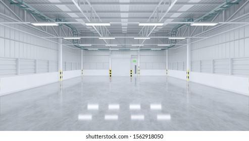 3d rendering of  warehouse building and shutter door and concrete floor for industry background.