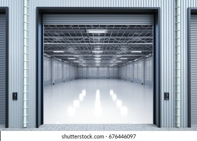 3d rendering warehouse interior with shutter doors opened