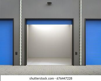 3d rendering warehouse interior with shutter doors