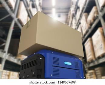 3d rendering warehouse robot carry cardboard box