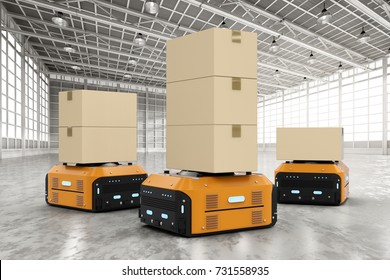 3d rendering warehouse robots carry boxes in factory
