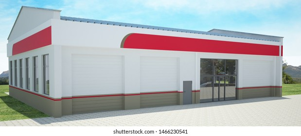 3D rendering of a warehouse / shop