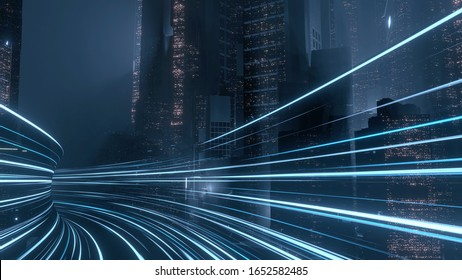 3D Rendering of warp speed in hyper loop with blur light from buildings' lights in mega city at night. Concept of next generation technology, fin tech, big data, 5g fast network, machine learning