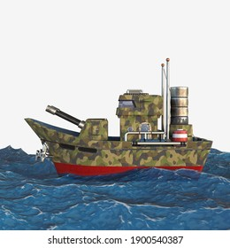 3d rendering,  Warship, a holiday of the navy