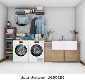 3d rendering washing machine in vintage laundry room