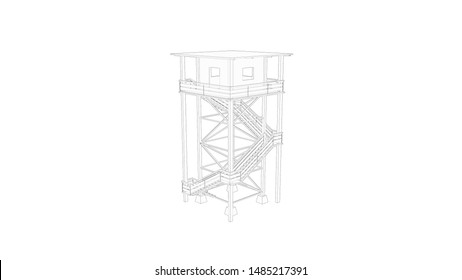 3d rendering of a watch tower isolated in white background