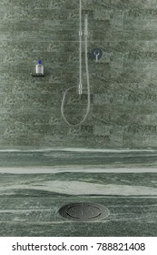 3d rendering of water drops on metal gutter of shower tray in valser quartzite stone