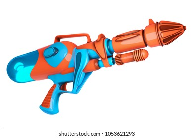 3D rendering of water gun orange and blue colors isolated on white background with clipping paths for Songkran festival in Thailand.