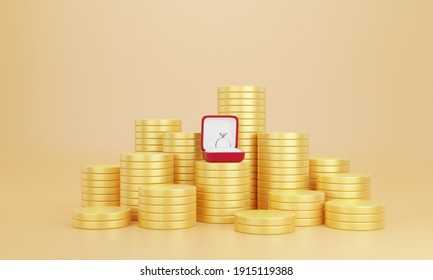 3d Rendering. Wedding rings on stack of coins. Image use for saving money for marry, accumulate money for the future.