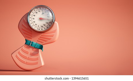 3D rendering of a weight scale with a tight belt