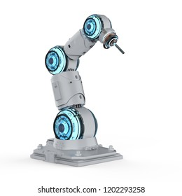 3d rendering welder robotic arm on white background