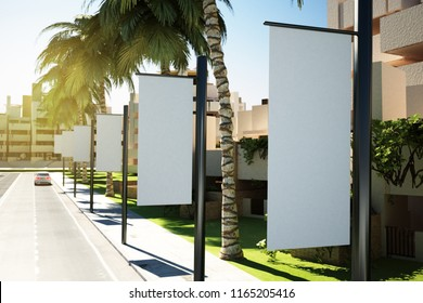 3d rendering of white advertising flags on street