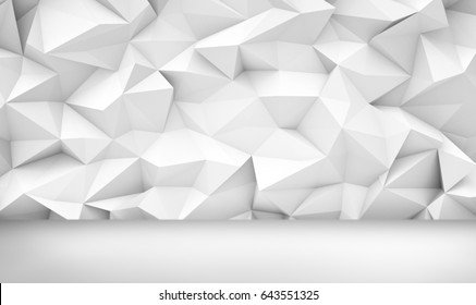 3d rendering of a white background with geometric cubic shapes above a white even floor. Backgrounds and patterns. Abstract shapes. Geometry and cubism.