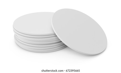 3D rendering white beer coaster isolated on white background