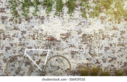 3d rendering white bicycle near antique brick wall