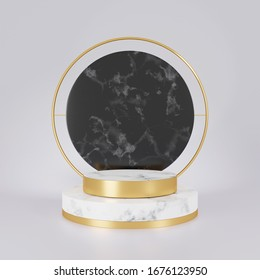 3d rendering of white and black marble pedestal isolated on white background, gold frame, memorial board, cylinder steps, abstract minimal concept, blank space, clean design