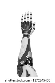 3d rendering of a white and black robotic hand shown vertically from the back of the palm. Greeting and attention. Cyborg hand wave. Mechanical hand shows stop.