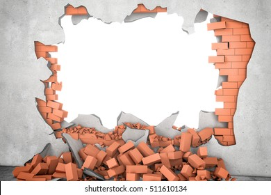 3d rendering of a white broken wall with a white hole and a pile of rusty red bricks beneath. Construction and repair. Building and Reconstruction. House-building. General maintenance.