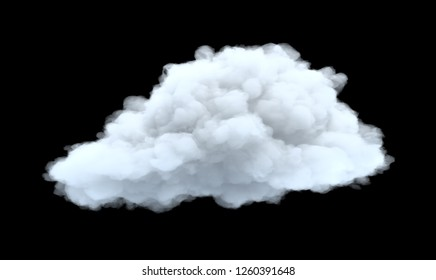 3d rendering of a white bulky cumulus cloud on a black background. Weather and climate. Natural phenomena. Weather observations.