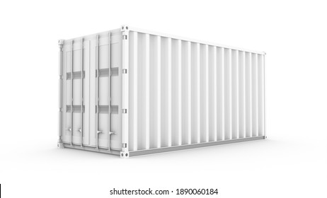 3D rendering white cargo container on white background