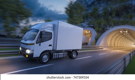 3d rendering of White Cargo Delivery Trucks in Motion
