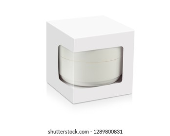3D rendering of white carton with window inside jar isolated on white background