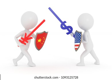 3D rendering white cartoon man  with china yuan and us dollar icon swords and Shield with us and china flag  Fight trade war