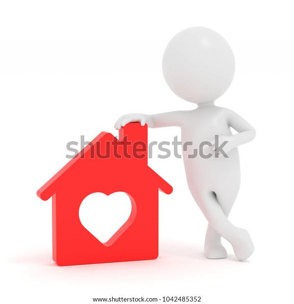 3D rendering white cartoon man showing Red house icon with heart
