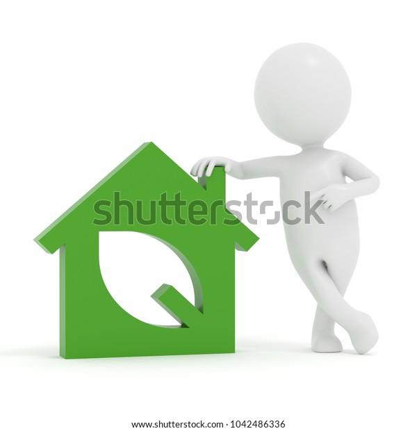 3D rendering white cartoon man showing   green house