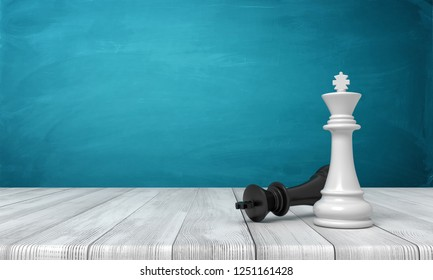 3d rendering of a white chess king standing near a fallen black king on a wooden desk background. Winners and losers. Defeating your enemy. Two chess kings.