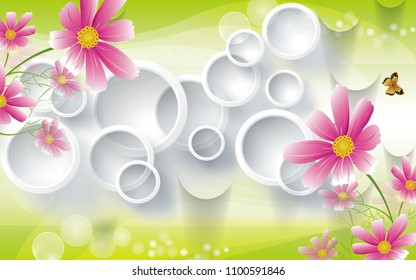 3D Rendering white circular background, wallpaper for walls.