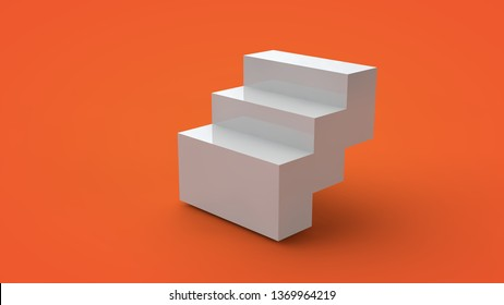 3D rendering of a white cube isolated on a yellow background. The cube is divided into segments, parts form steps with sharp edges. Abstract image of a geometric figure, illustration.