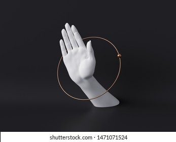 3d rendering, white decorative female mannequin hand isolated on black background, body part inside round frame, golden ring, luxury fashion concept, fortuneteller or healer, clean minimal design