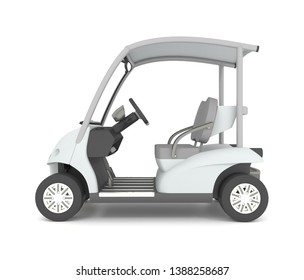 3d rendering of white electric golf car on a white background.