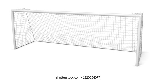 3d rendering of white empty football gates isolated on a white background. Football match. Empty gate. Game symbols.