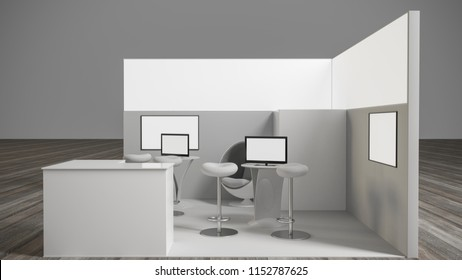 3d rendering of a white exhibition stand with light for different uses and screens