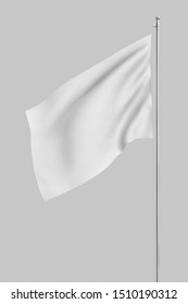 3d rendering of white flag hanging on post and wavering on a white background. Throwing white flag. Symbol of freedom. Surrender and giving up