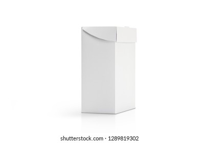 3D rendering of white flip top carton isolated on white background