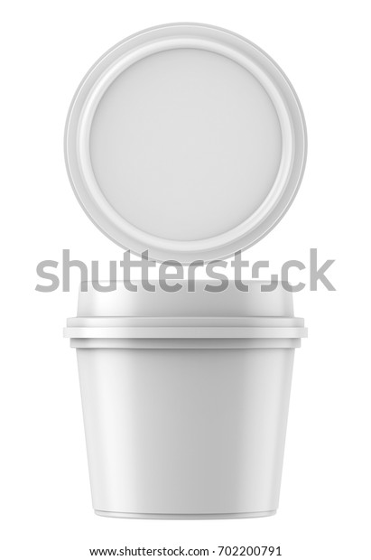 3D rendering White food plastic tub bucket container for dessert, yogurt, ice cream, sour cream, snack, butter, margarine or cheese, Mock Up Template