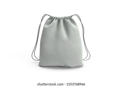3D rendering white front drawstring bag isolated on white background mockup template