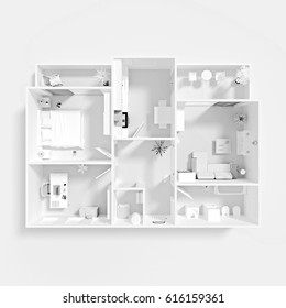 3d rendering of white furnished model of home apartment