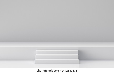 3D rendering of a white geometric background for commercial advertising
